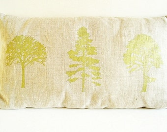 Hand Printed Tree Pillow Cover/ Green Forest Trees/ Organic Natural Linen / Decorative Pillow/ 20x12in/ Ready To Ship