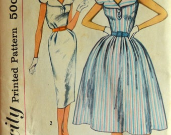 Uncut 1950s Simplicity Vintage Sewing Pattern 2549, Size 12; Misses' One Piece Dress with Two Skirts