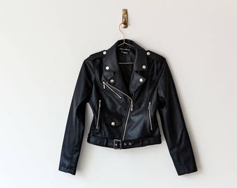 New Handmade Black Faux Leather Women Jacket