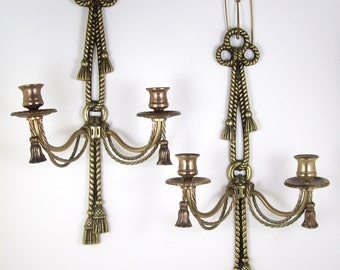 2 Vintage Brass Wall Sconce Double Candle Holders Twisted Rope Bows w/ Tassels