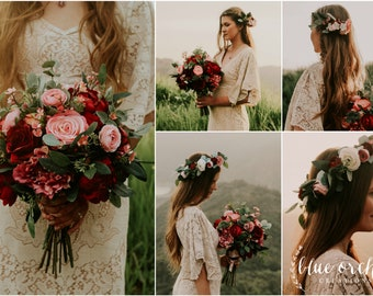wedding bouquet, wedding flowers, boho bouquet, bridal bouquet, pink, red, ,burgundy, eucalyptus, wedding flower set, destination wedding