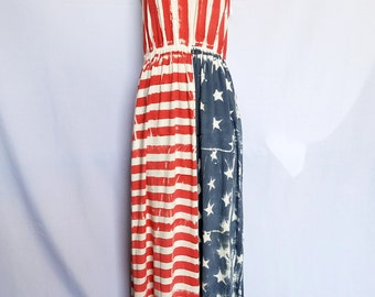 Hand Painted American Flag Maxi Dress
