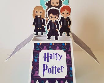Harry Potter 3D Pop Up Box Personalised Greeting Card hand crafted Hagrid Ron Weasley Hermione Granger Gryffindor Hogwarts Magic Wizard