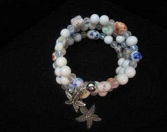 Beaded White Multi-colored Starfish Memory Wire Bracelet