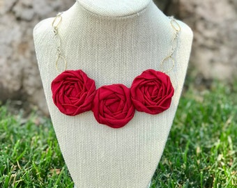 Red Fabric Flower Statement Necklace, Rolled Rosette Statement Necklace
