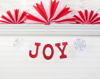 Joy Banner - Glitter 5 inch Letters with Snowflakes - Christmas Banner Holiday Garland Decorations Family Photo Prop Snowflake Banner Sign