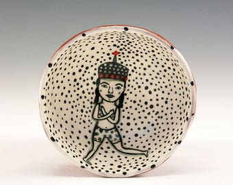 Dancing Wearing A Cool Red Tassel Hat - Original Painting by Jenny Mendes in a Hand Pinched Ceramic Finger Bowl