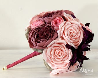 Bridal bouquets, Artificial bridal bouquet, Bridal roses bouquet, Artificial flowers, Fabric flowers, Fabric bouquet, fabric flower.