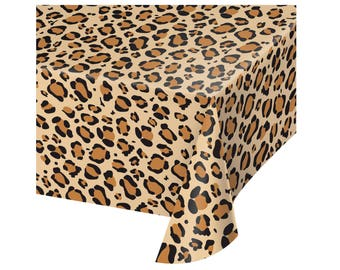Leopard Print Tablecloth - Leopard Birthday - Bachelorette Party Ideas - Animal Print - Bridal Shower - Woodland Baby Shower - Baby Shower