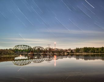 Train Bridge and Star Trails Print