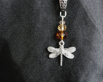 Scotland Inspired Necklace, Dragonfly In Amber Themed.