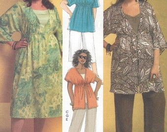 Plus Size Womens Kimono Sleeve Top, Dress or Tunic Pants & Tank Top OOP Butterick Sewing Pattern B5195 Size 18 20 22 24 Bust 40 42 44 46 FF