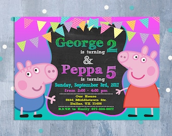 George pig invite etsy peppa pig sibling invitation peppa pig joint birthday party peppa george pig dual invite with free thank you card personalized jpeg stopboris Image collections