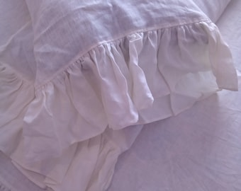 PILLOW CASE with RUFFLES 100%Linen washed size standard, queen, king color white