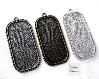 3 Pendant Trays - 38 mm - Rectangle Antique Silver, Shiny, Gold - pendant necklace jewelry making