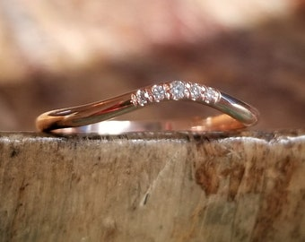 Curved Wedding Band Rose Gold Curved Wedding Bands Women Rose Gold Band Curved Rose Gold Wedding Band Women Rose Gold Ring Diamond Band Ring