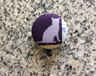Cat retractable ID Badge holder, cat, Nurses badge, fabric badge reel, ID clip, badge clip