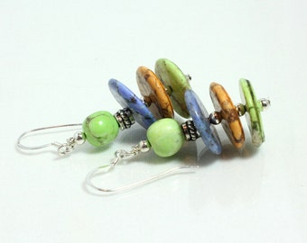 Multicolor Magnesite Earrings Southwestern Style