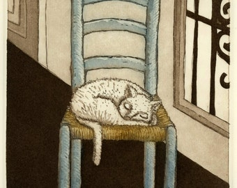 cat art print, cat wall art, cat art, catlovers, blue chair, interior art print, wall art with cat, white cat art, printmaking, etching,