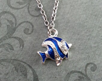 Blue Striped Fish Necklace, SMALL Fish Jewelry, Blue Enamel Fish Charm, Teenage Girl Jewelry, Cute Jewelry, Bridesmaid Gift, Ocean Necklace