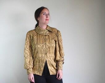 Vintage Escada Blouse / Silk Blouse / Puff Sleeve Blouse / Gold Silk Blouse / Statement Sleeves / S M