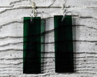 Green Perspex Rectangle Earrings - Drop Earrings - Translucent Green - Bottle Green Earrings - Valentines Jewellery
