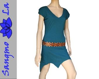 Shirt top longshirt minidress psy goa gipsy bohemian ethnic cotton size S/M L/XL teal blue