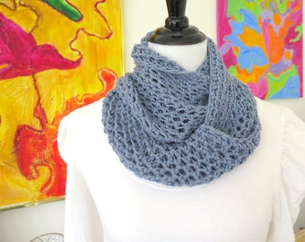 Blue crochet cowl, soft light weight infinity scarf, steel blue neck warmer, gift under 40