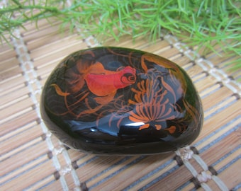 Glass Paperweight Asian Koi Fish Hand Painted Strength Symbol Black Orange Collectible Chinese Japan Goldfish Vintage FREE SHIPPING (702)