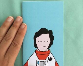 poe dameron star wars hand sewn mini notebook // the force awakens// rebel alliance// mini journal //  stocking stuffer // christmas gift