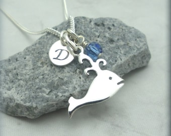 Silver Whale Necklace, Sterling Silver Whale, Personalized, Initial Charm, Ocean Animal, Birthstone Necklace, Sea Life Jewelry