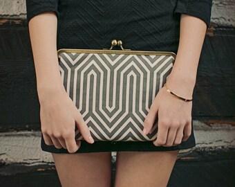 Oversized Clutch Bag | Geometric Clutch Bag | Gray Clutch {Marni Clutch: Pont}