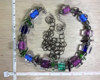 """Vintage 34"""" Necklace Lucite Beads Purple Blue Green Used"""