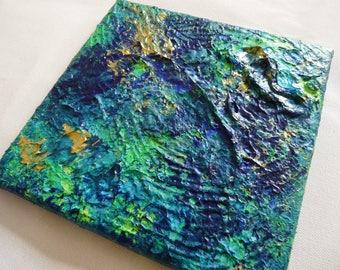 Art Abstraction Relief Œuvre artistique abstrait Tableau Bleu Doré Décoration moderne Petit Format carré 20 x 20 cm 8 x 8 inch