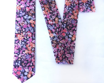 Liberty Tie - Floral Tie Liberty of London - Pink Purple Lavender Peach Flowers Tie