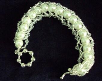 Pearl Flat Spiral Stitch Bracelet