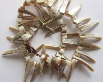 shell statement necklace spike choker necklace 17 inch long tribal jewelry boho necklace boho style jewelry gift for her girlfriend gift