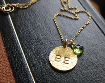 BEING YOU 24K Gold Vermeil custom hand stamped initial monogram birthstone customized necklace you choose word and birthstone necklace