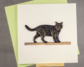 3D Handmade Card  Quilling Card Quilled Black Cat Animal Card Paper Quilling