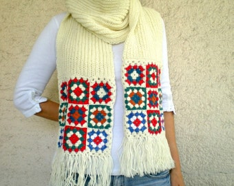 Wool Scarf  with Afghan Motifs, Knit  Womens Scarves Cream Beige Red Blue Green