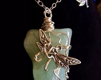 Aquamarine with Dragonfly Wire Wrapped Stone Jewelry Set