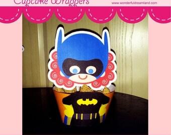 50% OFF Superhero Girl Cupcake Wrapper B - PDF Instant Download Printable Digital File