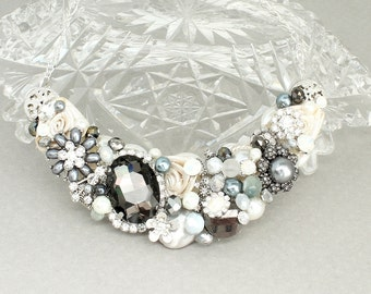 Gray Bridal Necklace- Charcoal Bridal Bib-Gray Wedding Necklace- Bridal Statement Bib-Charcoal Gray Bib- Dark Gray Necklace-Wedding Necklace