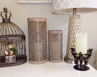 Vintage Tall Cylinder Candle Holders