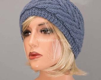 Purple headband, ear-warmer, headband, pure wool, for women, hand knitted