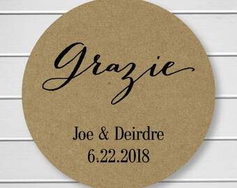 Personalized Grazie Sticker, Grazie Labels, Kraft Stickers, Kraft Thank you Stickers (#049-KR)