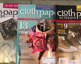 Cloth Paper Scissors magazine, 2012-2014, 3 issues, excellent condition.