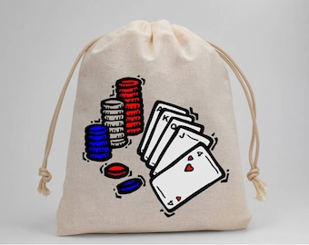 Poker, Party Bags, Birthday Party, Treat Bags, Candy Bags, Favor Bags, Muslin Bags, Goodie Bags, Drawstring Bags, 5x7, Set of 5