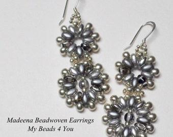 SuperDuo Beadwoven Earrings, Beadwork earrings, Beadwoven Earrings, Beaded Earrings, SuperDuo, Jewelry Gift, Earring Tutorial