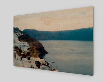 Santorini Hills by the Aegean Wood Print,1:50 Limited Edition / home decor / decoration / photo / photography / black and white /. hill